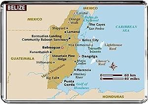 M022 MAP of Belize Fridge Magnet Belize Travel Refrigerator Magnet
