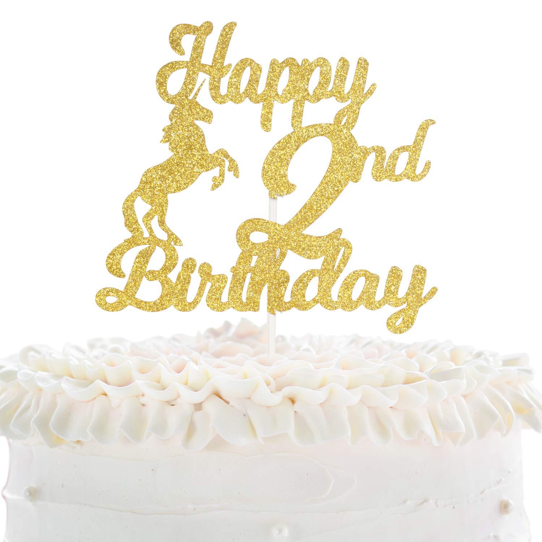 Fabulous Happy 2Nd Birthday Cake Topper Unicorn Theme Gold Glitter Decor Funny Birthday Cards Online Elaedamsfinfo