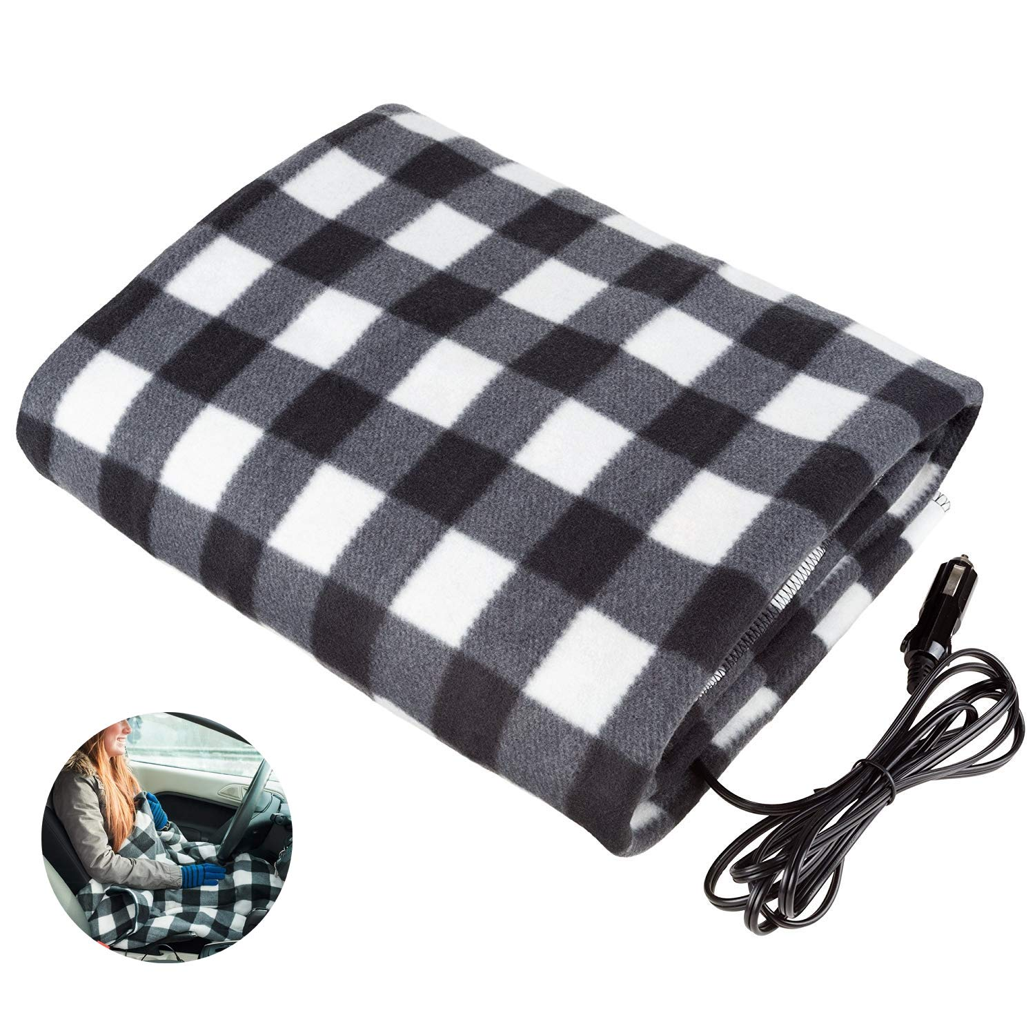 Electric Car Blanket-Car Electric Blanket Electric Car Heating Blanket 12 Volt Great for Cold Weather, Tailgating, and Emergency Kits (43inches59 inches) by HJJH