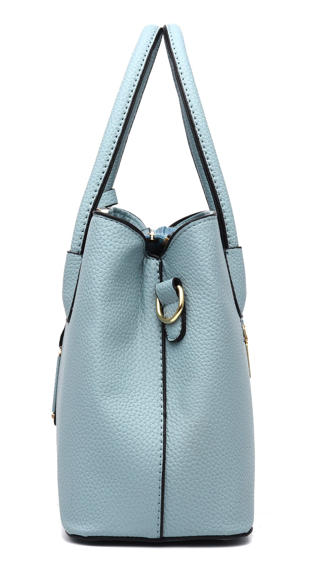 Covelin Women's Top-handle Cross Body Handbag Middle Size Purse Durable Leather Tote Bag Light Blue by Covelin (Image #3)