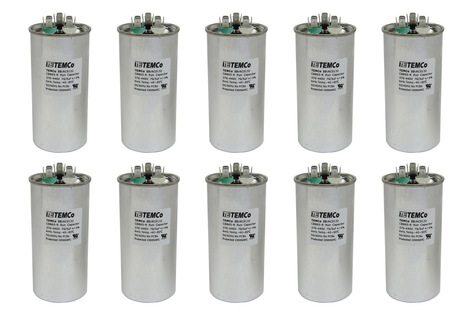 TEMCo 10 LOT Dual Run Capacitor RC0134-70/5 mfd 370 V 440 V VAC volt 70+5 uf AC Electric Motor HVAC