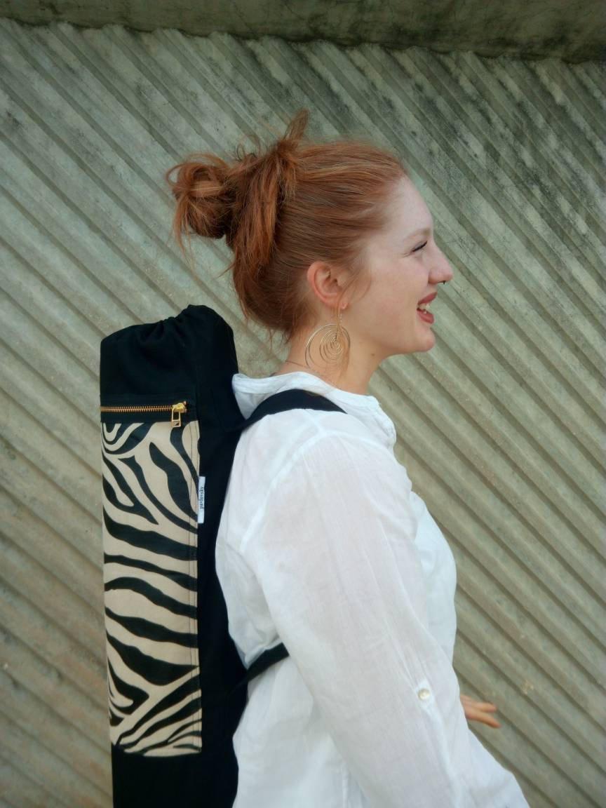 Vegan zebra yoga mat bag