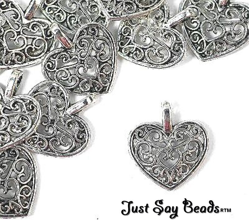 *HUGE SALE & FREE CHARMS PROMOTIONS! 8 x Antique Silver Plated Filigree 'HEART' Charms. Jump rings included for Attachments. *High Quality Charms for Jewellery Making & Card Embellishments* (Ref:10B46) Just Say Beads