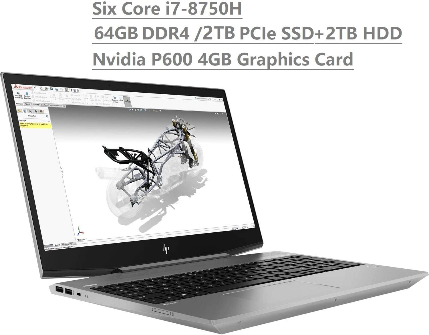 "HP Zbook 15V G5 15.6"" FHD (1920x1080) Mobile Workstation Laptop (Intel Six-Core i7-8750H, 64GB DDR4 RAM, 2TB PCIe NVMe SSD+2TB HDD) Fingerprint, Backlit, Type-C, Thunderbolt 3, Windows 10 Pro 64-bit"