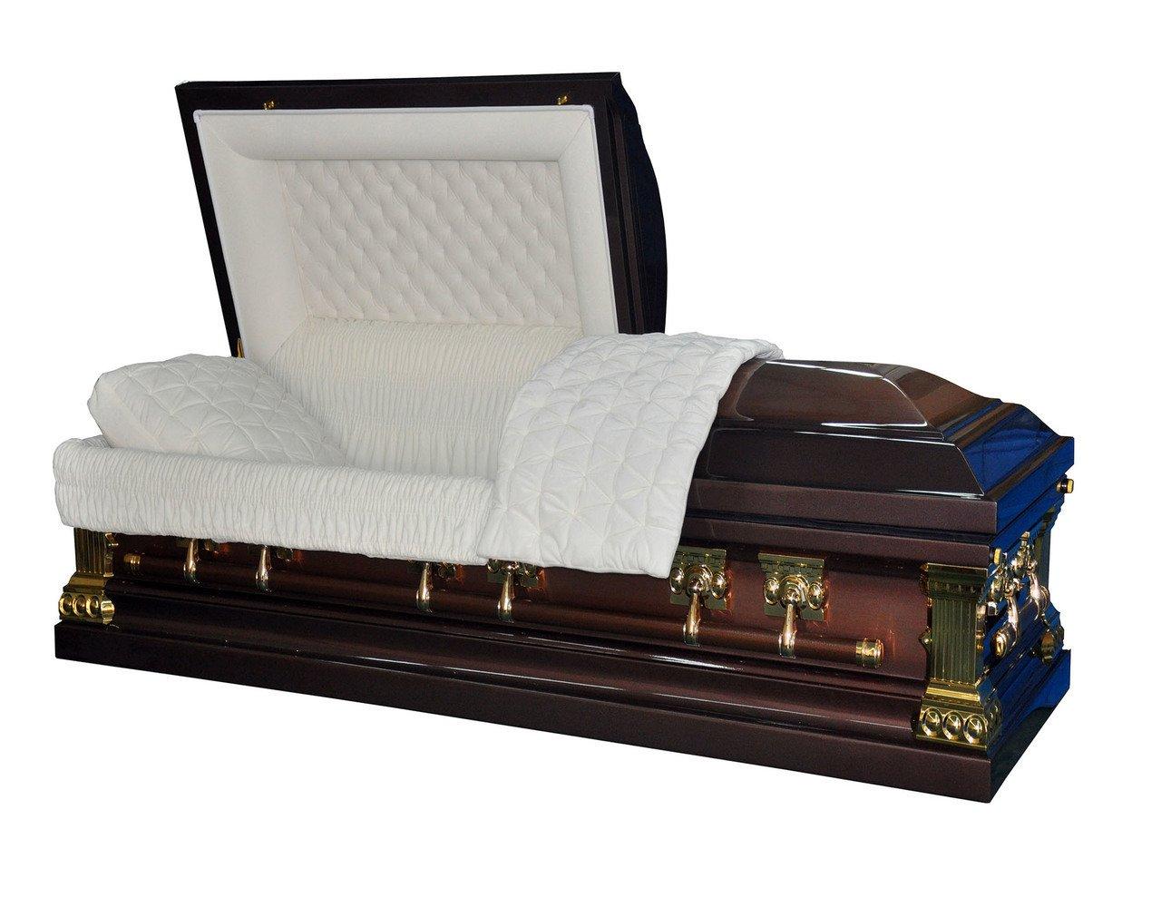 Overnight Caskets - Heritage Bronze Finish with White Interior 18 Gauge Metal Casket / Coffin
