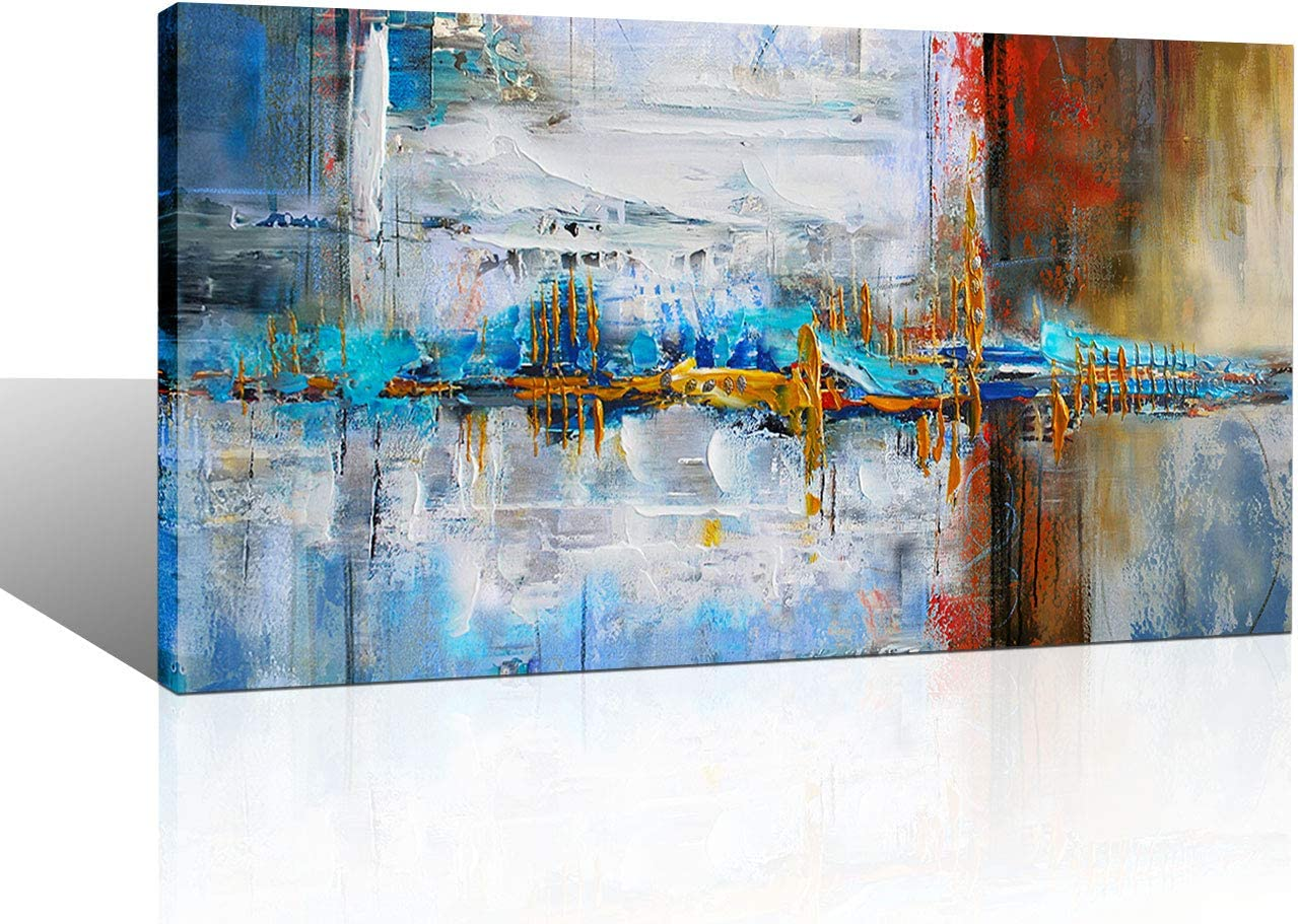 Large Abstract Canvas Wall Art Print Decor for Living Room Bedroom Abstract Picture White Gray Artwork Moder Home Office Decoration 24x48