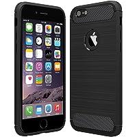 Anjoo Coque Compatible pour iphone 6/6s, Noir Silicone Housse Etui Anti-Rayures Fibre de Carbone Coque de Protection Compatible pour iphone 6 iphone 6s - Noir