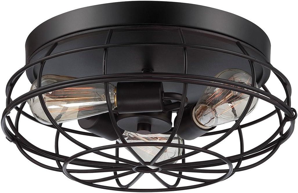 Flush Mounts 3 Light With English Bronze Finish Incandescent Bulbs 15 Inch 180 Watts Amazon Com