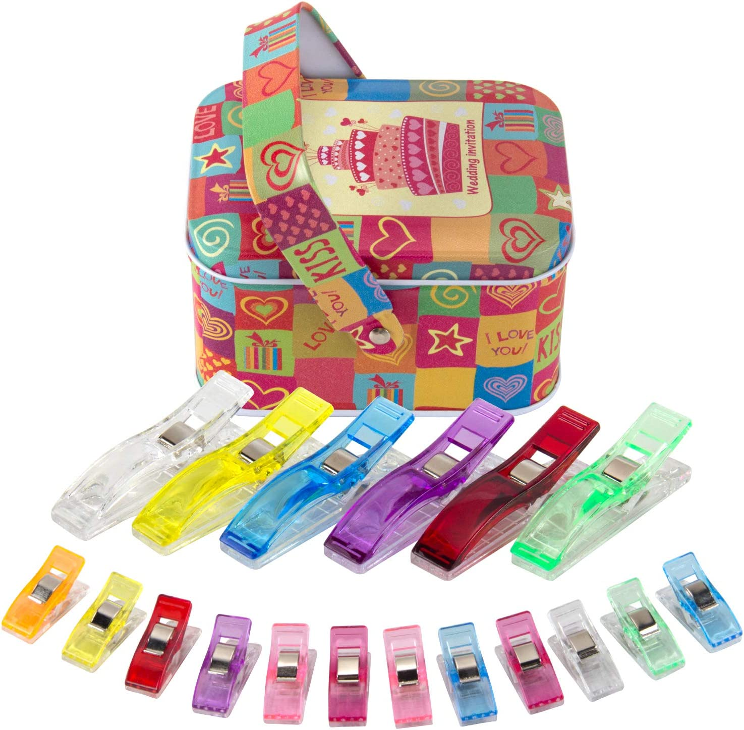 Knitting Safety Clips Crafting Sewing Wonder Clips Quilting 50 Pieces Jumbo Size Sewing Quilting Clips Multicolor for Sewing