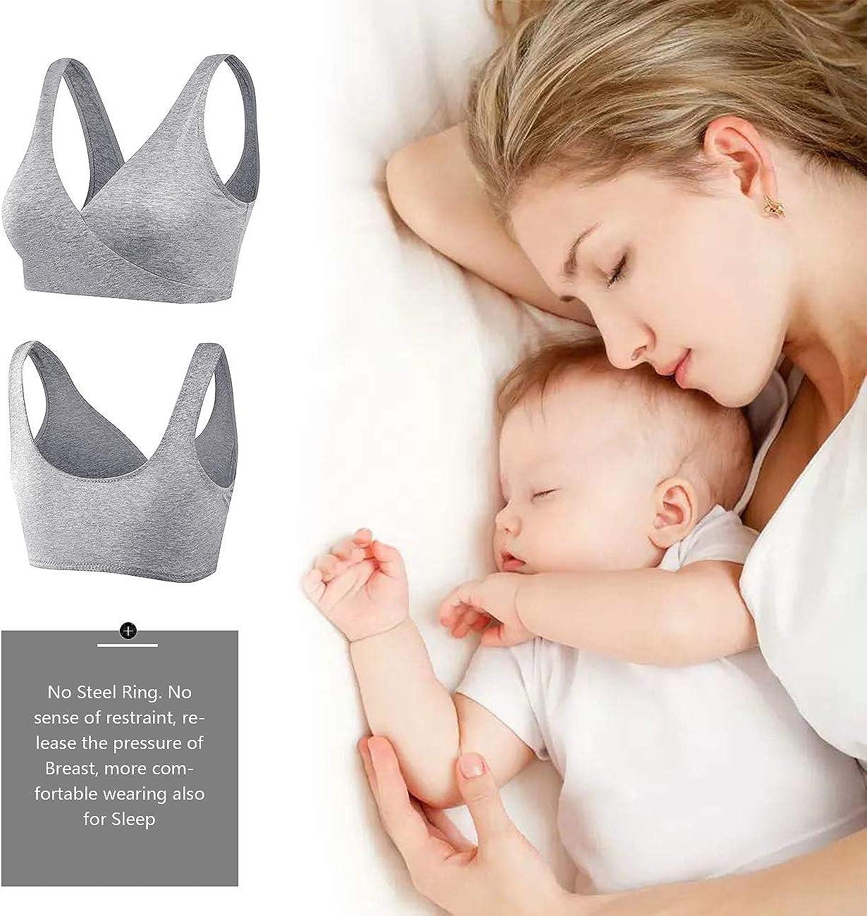 2019 Upgraded Version Sunzel Womens Cotton Spandex Seamless Sleep Bra for Nursing and Maternity XXL, Gray
