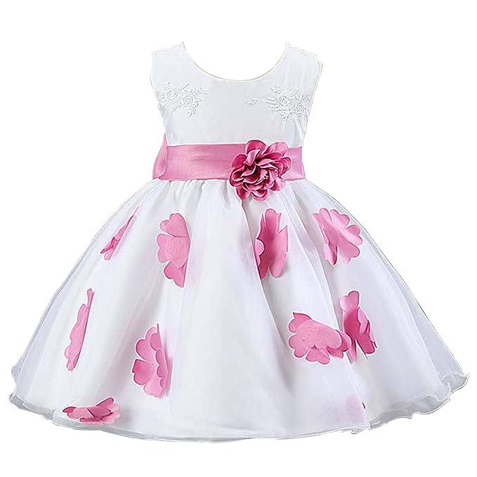 TOOGOO (R) bebé niña vestido de fiesta sin mangas vestidos lazo de cinturón de