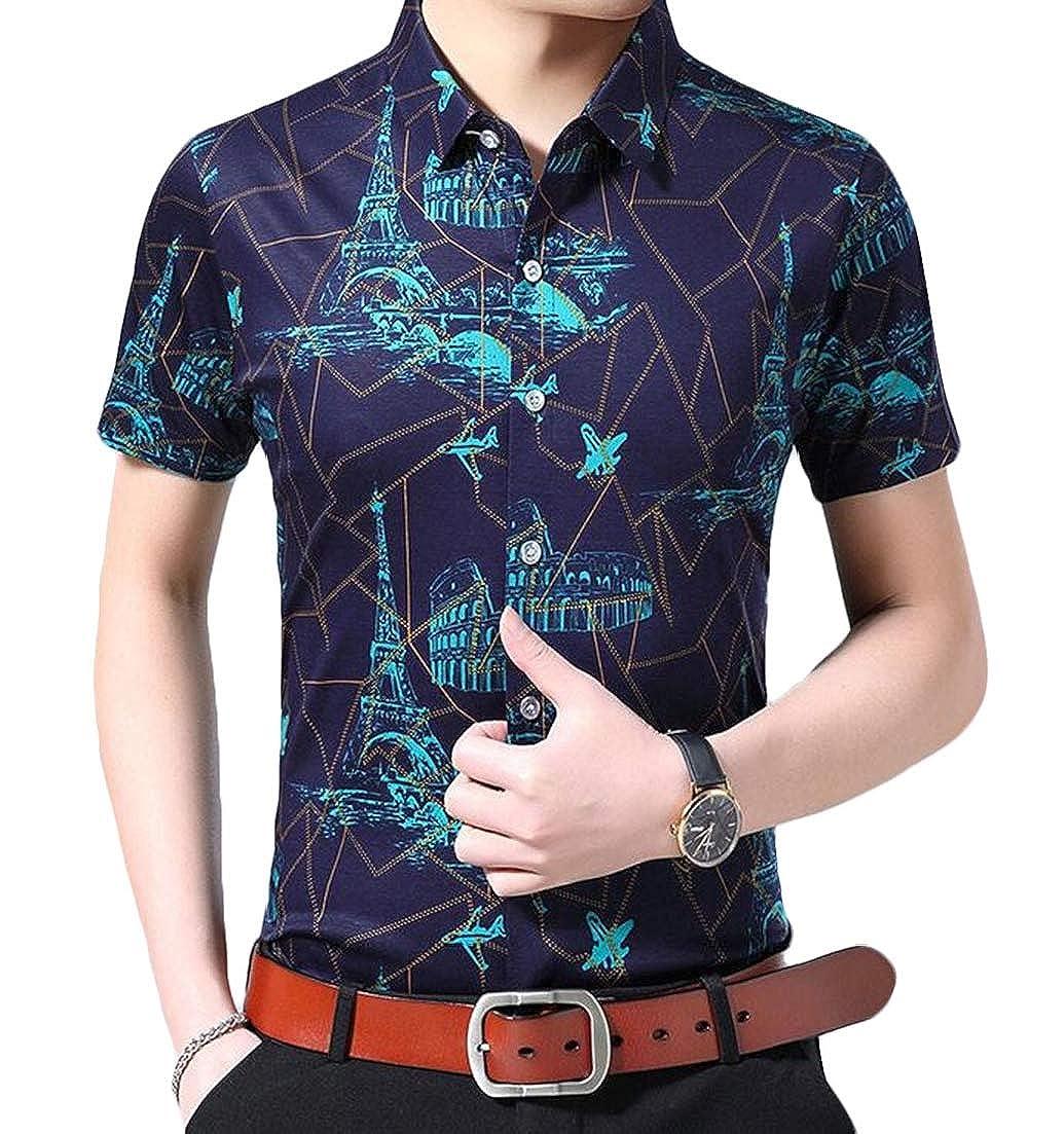 X-Future Mens Non-Iron Printing Short Sleeve Lapel Casual Button Shirt Tops
