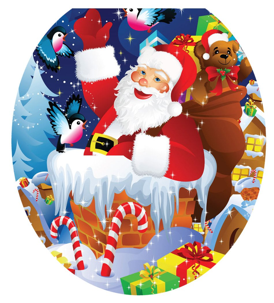 Toilet Tattoos TT-X610-R Santa Up On A Roof Decorative Applique For Toilet Lid, Round