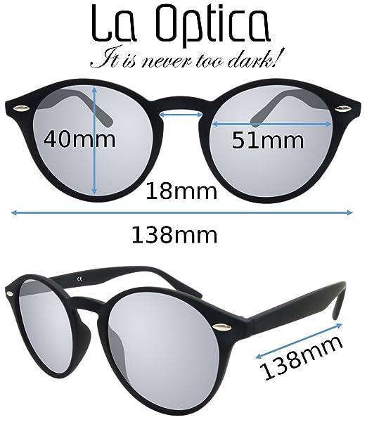 Original La Optica UV400 Unisexe Lunettes de soleil Rond - Boite double - Noir Caoutchouc (Verres: 1 x Gris, 1 x Rouge Miroir)