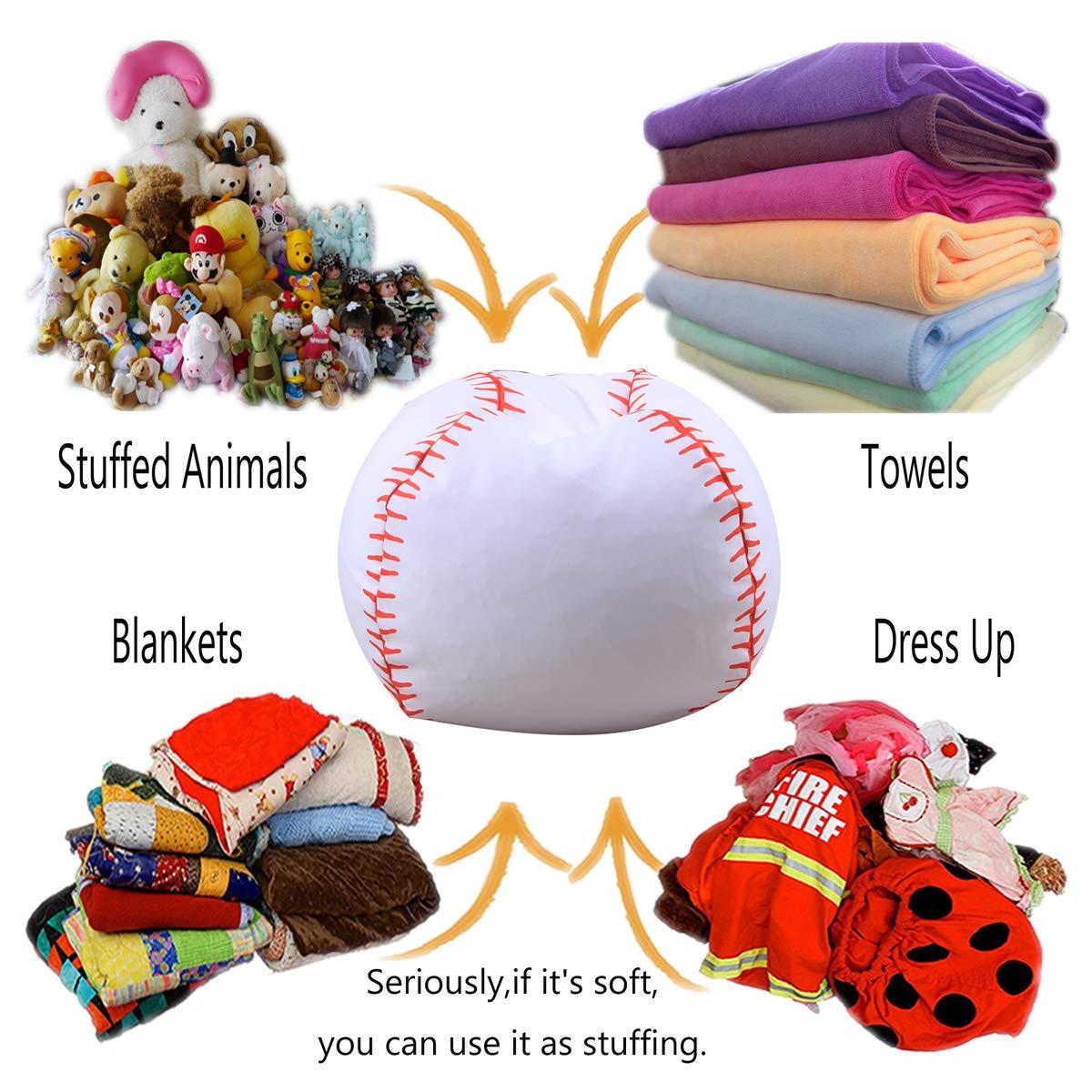 SJINC Bean Bag Chair Stuffed Animal Storage Giant Large Stuffie Seat Bean Bags for Baby Girls Boys