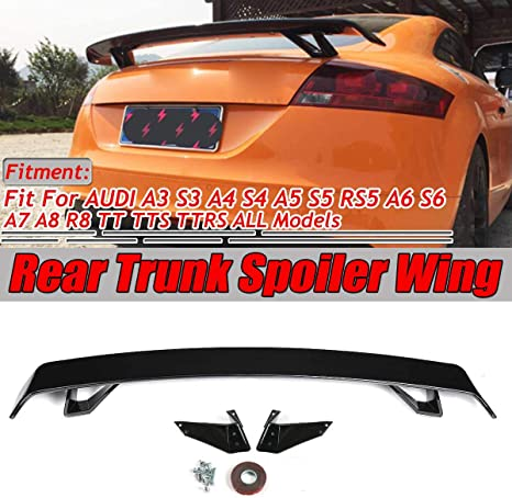 XAONUO Rear Trunk Spoiler for A4 A6 TT TTS Carbon Fiber Look//Gloss Black Car Rear Trunk Spoiler Wing for Audi A3 S3 A4 S4 A5 S5 RS5 A6 S6 A7 A8 R8 TT TTS TTRS,Gloss Black