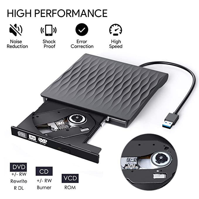 Amazon.com: Unidad externa de CD y DVD, AUCEE USB 3.0 tipo C ...