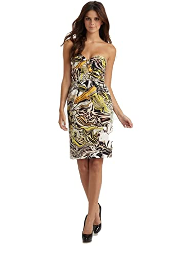 Anthropologie Leifsdottir Panthers Play Strapless Dress Size 6 at Amazon Womens Clothing store: