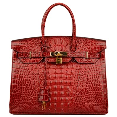 af53126e7b Ainifeel Women s Crocodile Embossed Office Handbag Top Handle Handbag (30  cm