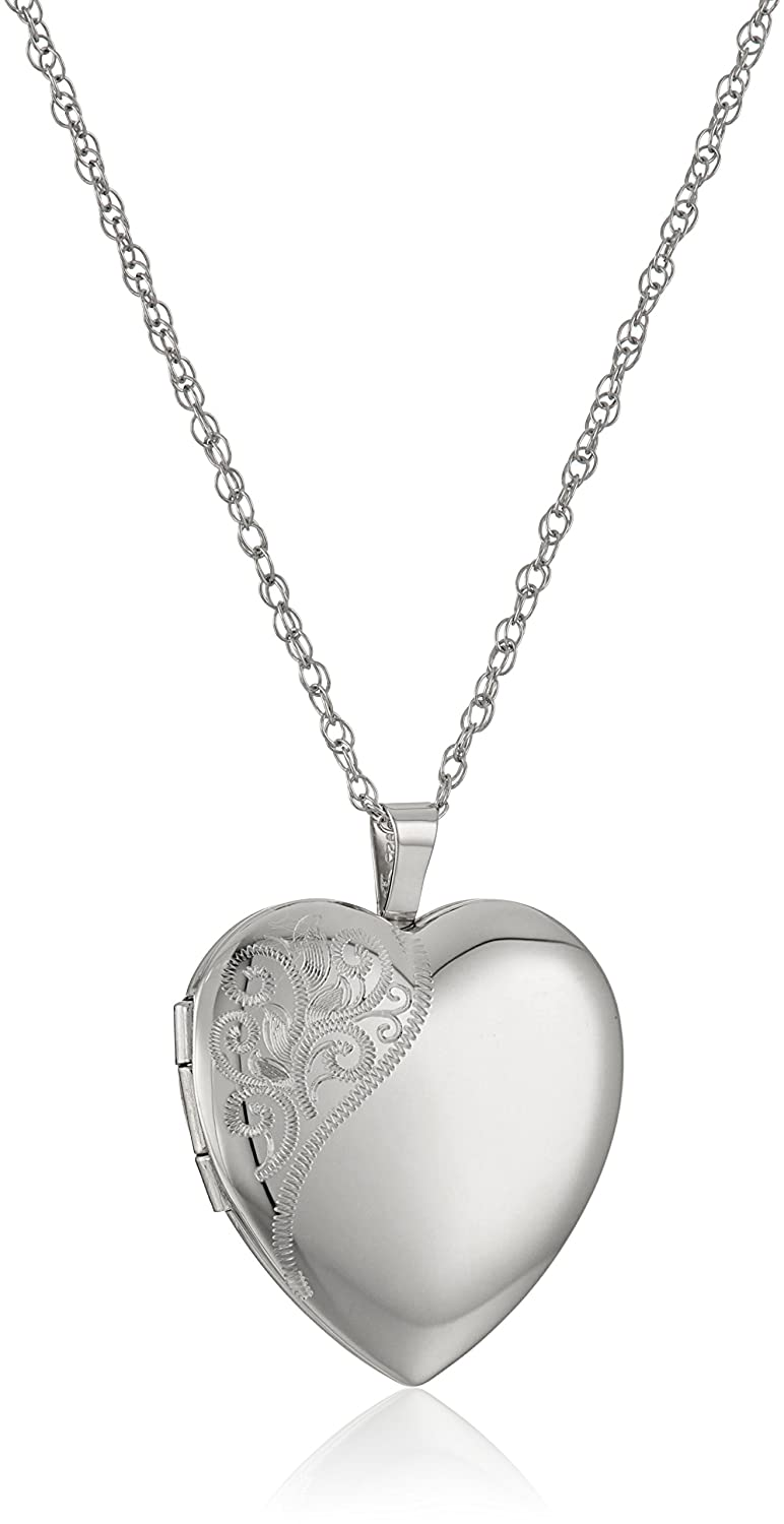 Sterling Silver Large Hand Engraved Floral Heart Pendant with Satin and Polished Finish Locket Necklace, 20