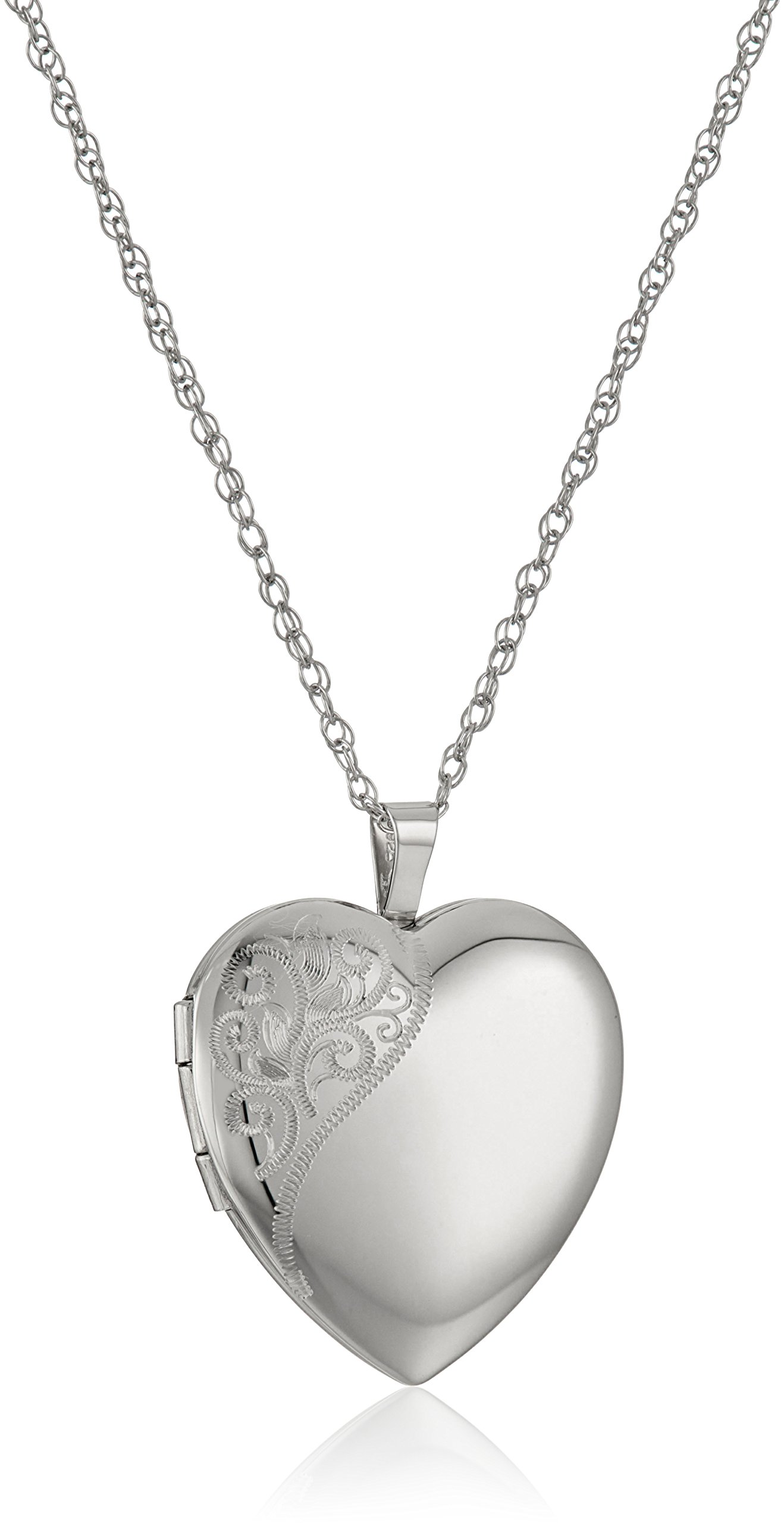 Sterling Silver Large Hand Engraved Floral Heart Pendant with Satin and Polished Finish Locket Necklace, 20''
