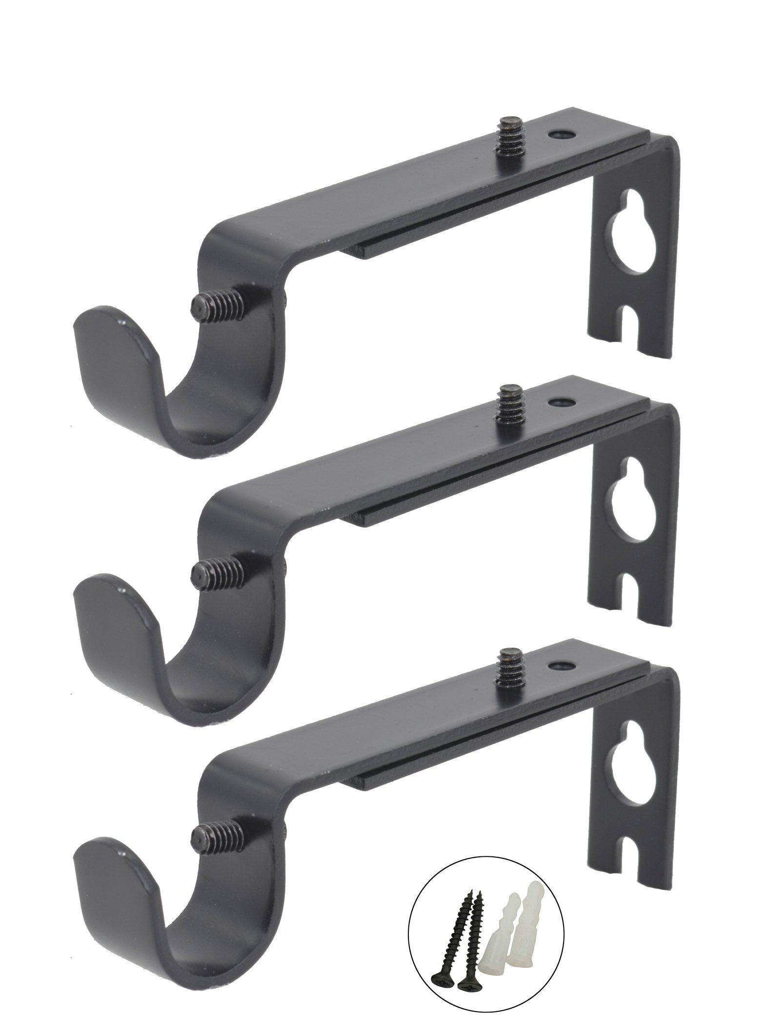AddGrace Adjustable Curtain Rod Brackets Rod Holder/Bracket for Drapery Rod/Window Drapery (Set of 3, Black)