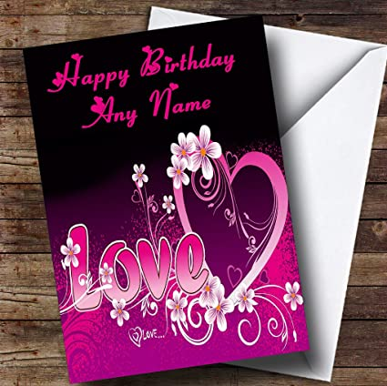 Amazon Pink Love Romantic Personalized Birthday Greetings Card Office Products