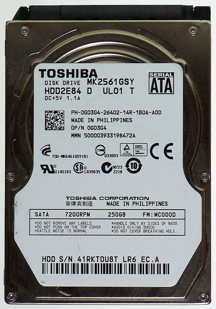 Para portátiles de 250 GB Toshiba MK2561GSY HDD2E82 satánicos ID13335: Amazon.es: Electrónica