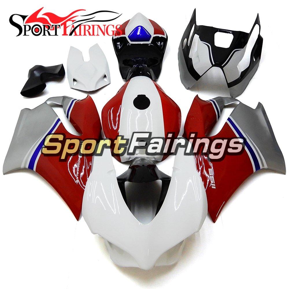 Sportfairings 外装部品の適応モデル 完全なグラスファイバーレースフェアリングキットドゥカティ 899 1199 12-13 年 2012 2013 レッドホワイトフェア   B076SQ86D1