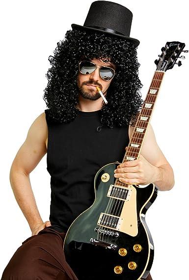 Heavy Metal Slash peluca Sombrero espejo gafas de sol disfraz Kit ...