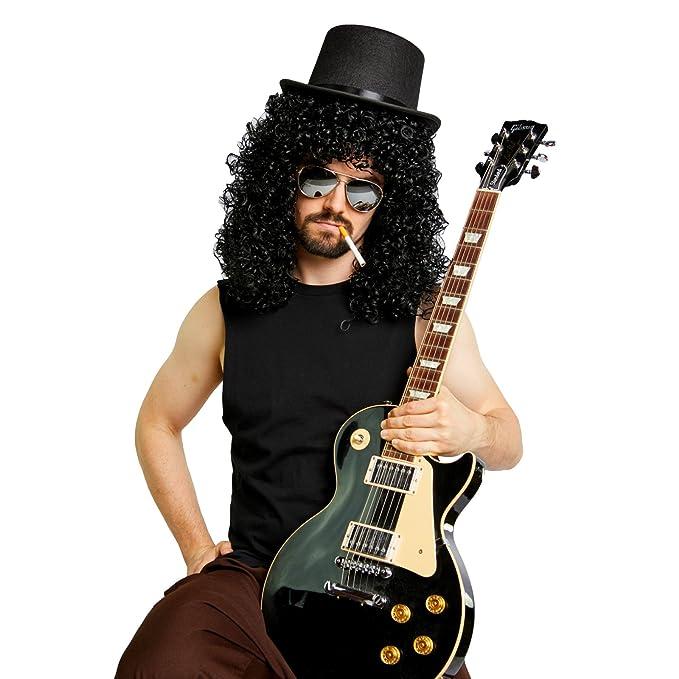 Heavy Metal Slash peluca Sombrero espejo gafas de sol disfraz Kit - negro -