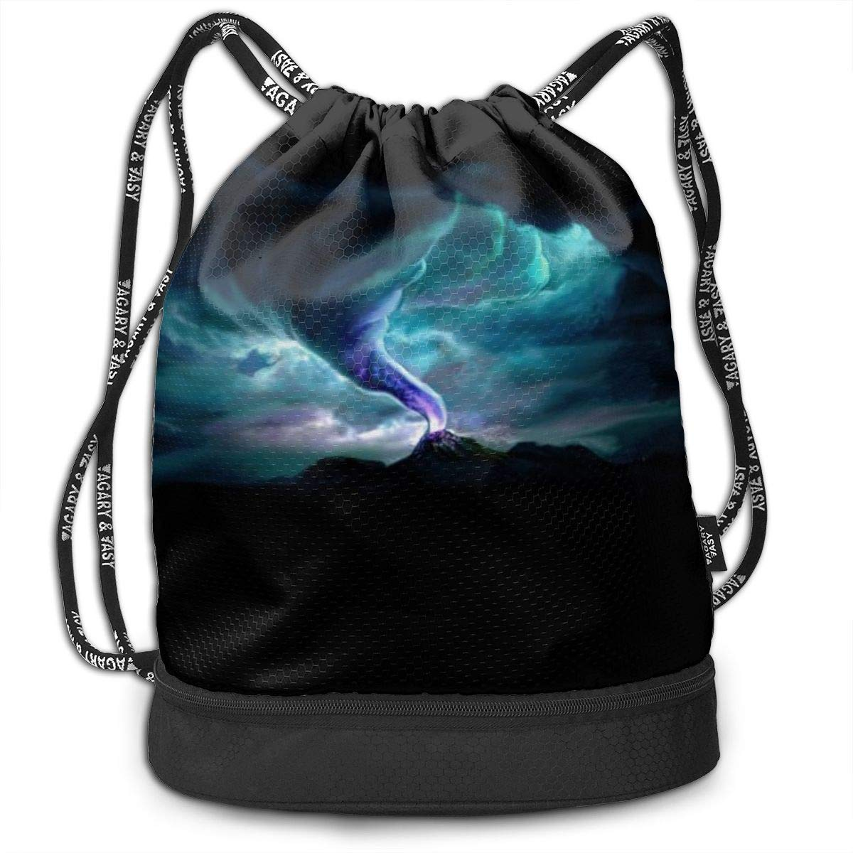 Women Kji Gym Sack Drawstring Bag Tornado Horrible Printed Sackpack Sport Cinch Pack Backpack for Men