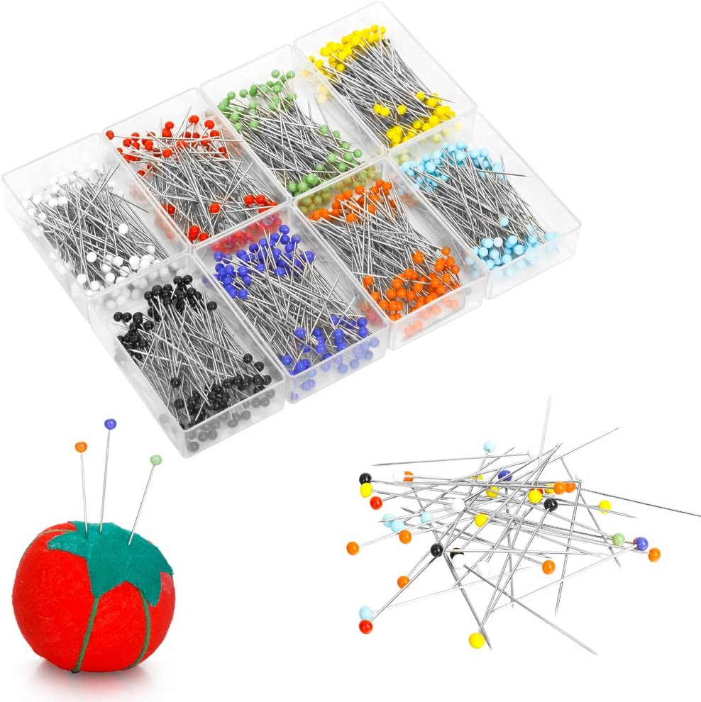Valar Dohaeris 800 Pieces Sewing Glass Head Ball Straight Quilting Pins for Jewelry Wedding Dressmaking Components Flower Decoration with Tomato Pin Cushion,8 Colors