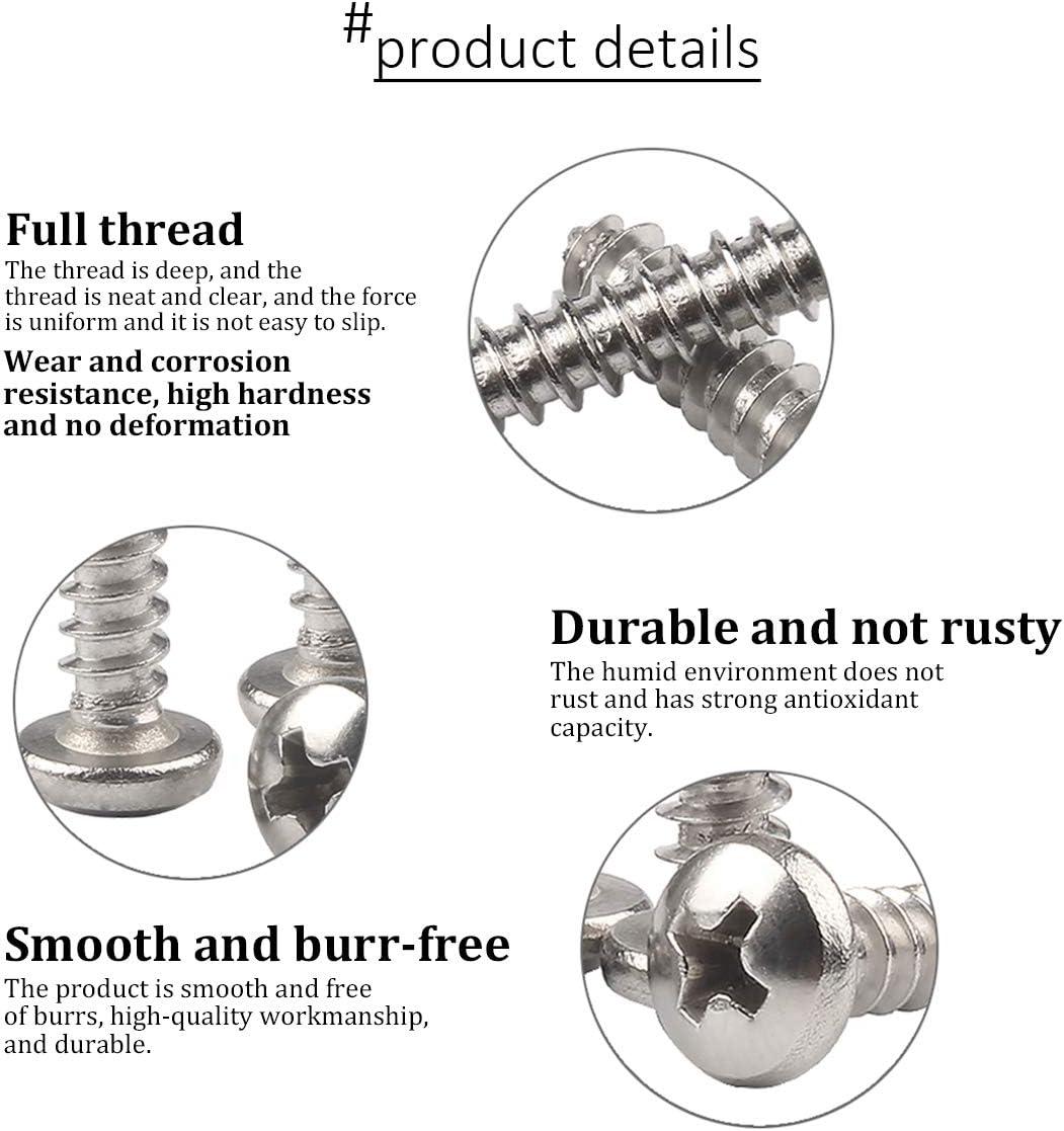 DAZISEN Wood Screws Stainless Steel Pan Head Screws Phillips Drive Self-Drilling Screws,M3.5