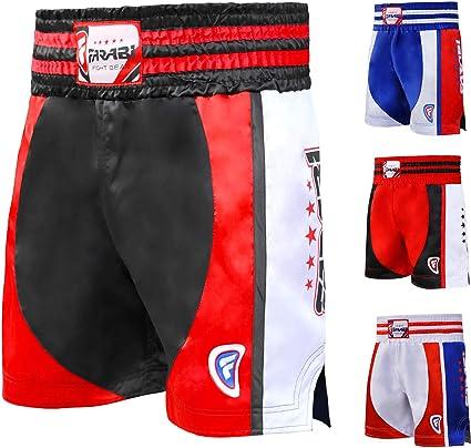Farabi Muay Thai Combat Shorts for Boxing MMA Muay Thai Fight Shorts Gym Training Workout Bjj Thai Trunks Satin Black Red Blue Shorts Mix Martial Arts Cage Fighting Grappling SparringTraining Punching Kick Boxing Shorts