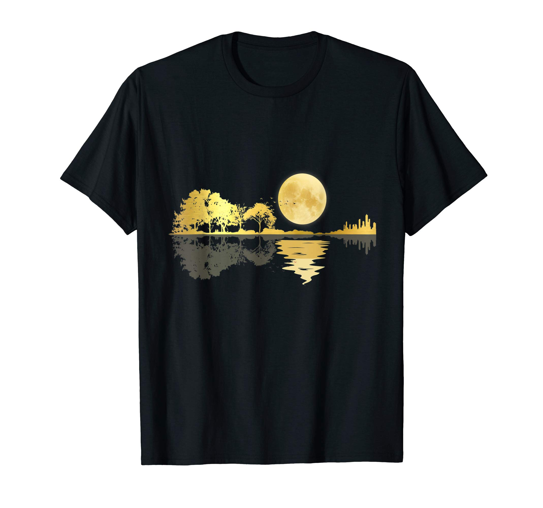Guitar Lake Shadow Love Guitar Musician Nature Forest Gift T-Shirt by Acoustic Guitar Moonlight Nature Lake Shadow