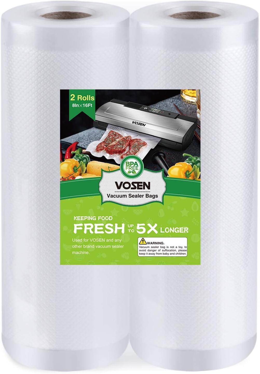 VOSEN Vacuum Sealer Bags Rolls-2 Pack 8''x 16' BPA Free Heavy Duty Vacuum Sealer Sous Vide Bags Commercial Grade Bag for Food Saver