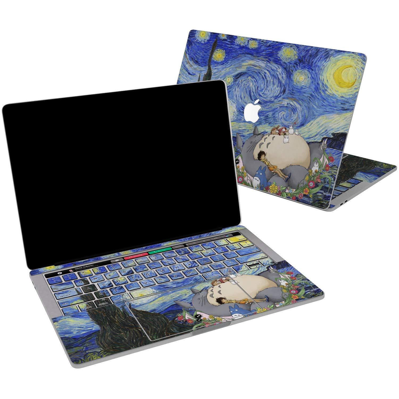 Lex Altern Vinyl Skin for Apple MacBook Air 13 inch Mac Pro 15 Retina 12 11 2019 2018 2017 2016 2015 Starry Night Kawaii My Neighbor Totoro Van Gogh Touch Bar Design Cover Keyboard Decal Sticker