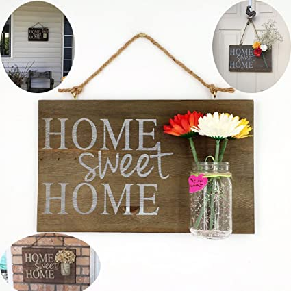Yonor Rustic Wood Home Welcome Sign, Home Sweet Home Sign, Wood Porch Sign,