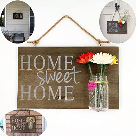 Yonor Rustic Wooden Home Sweet Home Sign For Front Door, Rustic Painted Home  Decor Sign