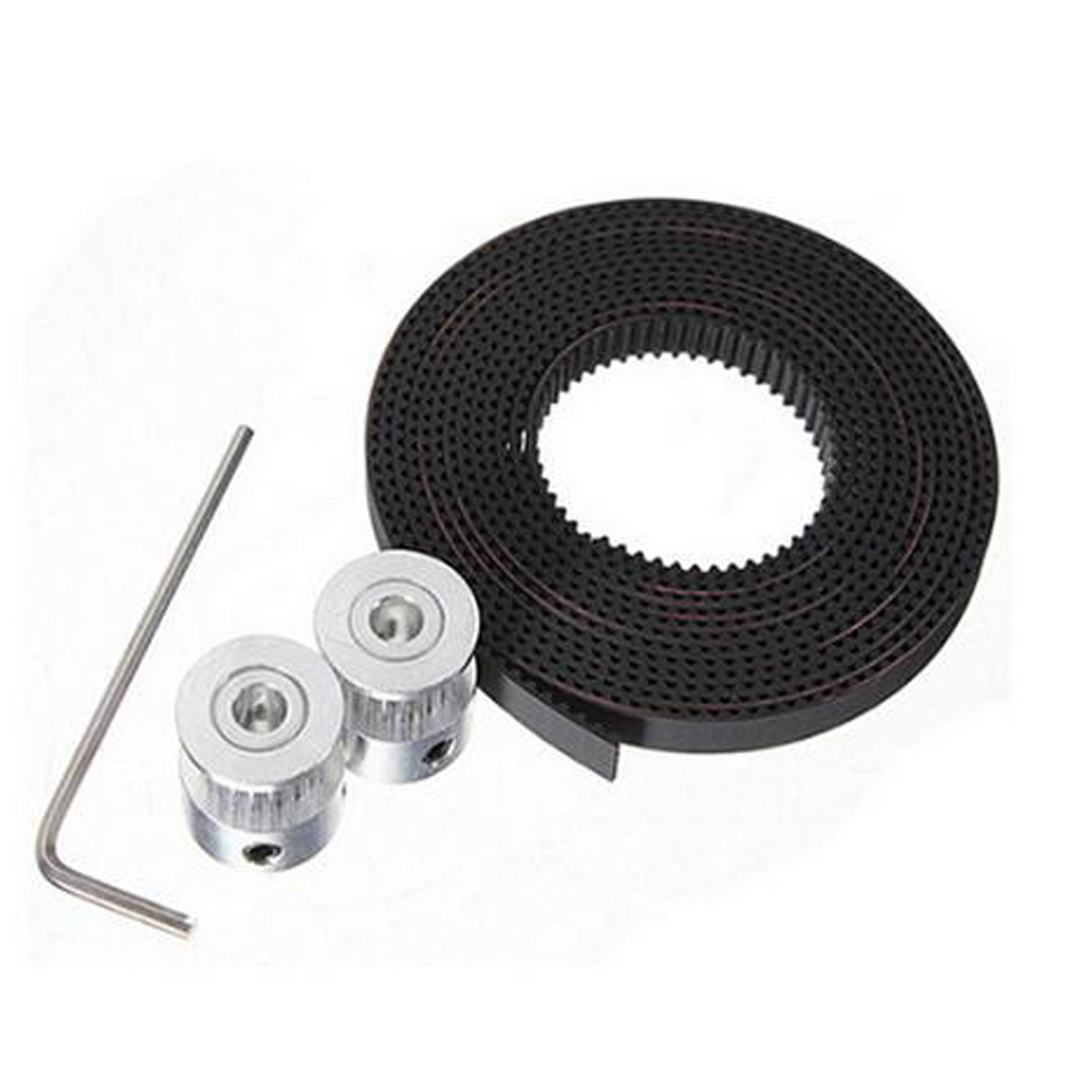 moinkerin 2pcs GT2 Pulley 20 Teeth, Bore 5mm, Height 16mm + 2 Meters GT2 Timing Pulley Rubber toothed Belt + Wrench for 3D Printer (2M)