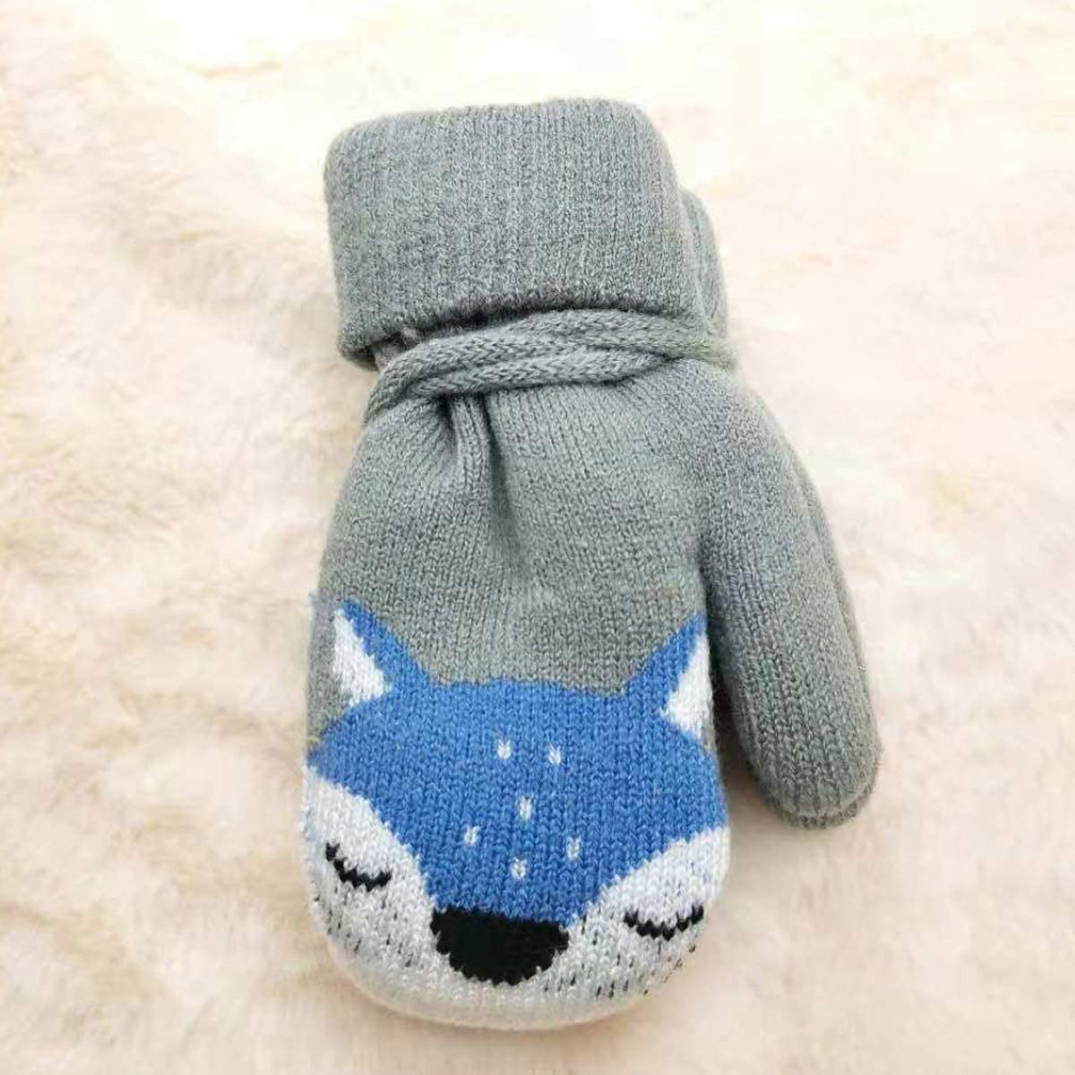Vohoney Kids Knitted Mittens Children Winter Warm Gloves Magic Stretch Toddler Full Fnger Mittens with Thick Feece Lining for Boys Girls