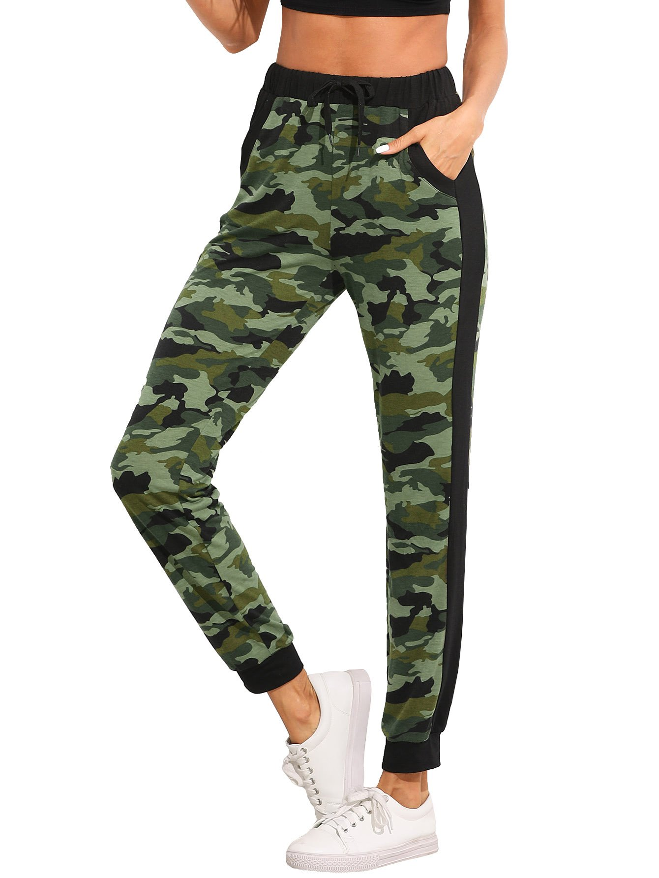 SweatyRocks Women's Drawstring Casual Joggers Pants with Pockets Camo XXL