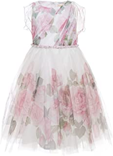 MONNALISA Abito in Tulle Stampa Rose 7939103050 Panna