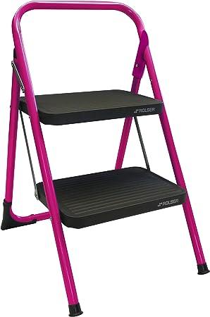 Rolser MET003 / M-10 - Escalera de mano (2 peldaños), color rosa ...