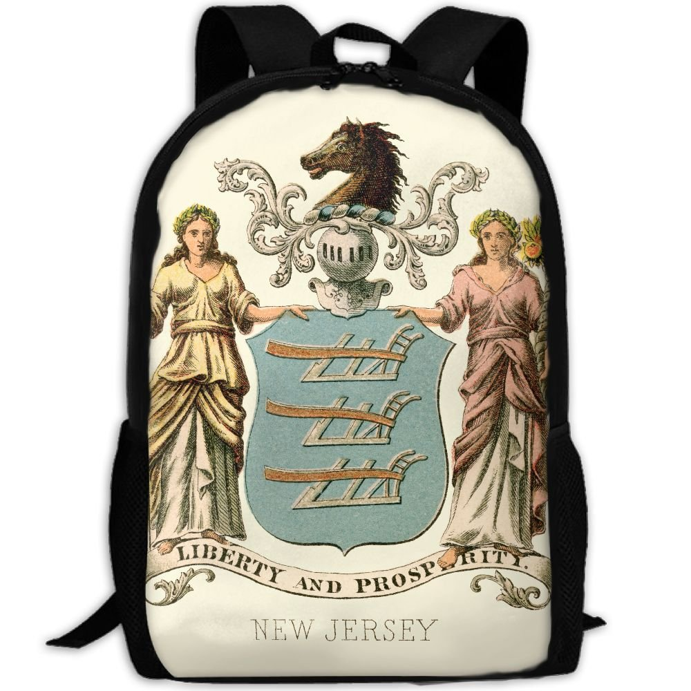 ZQBAAD New Jersey State Coat Of Arms Luxury Print Men And Women's Travel Knapsack