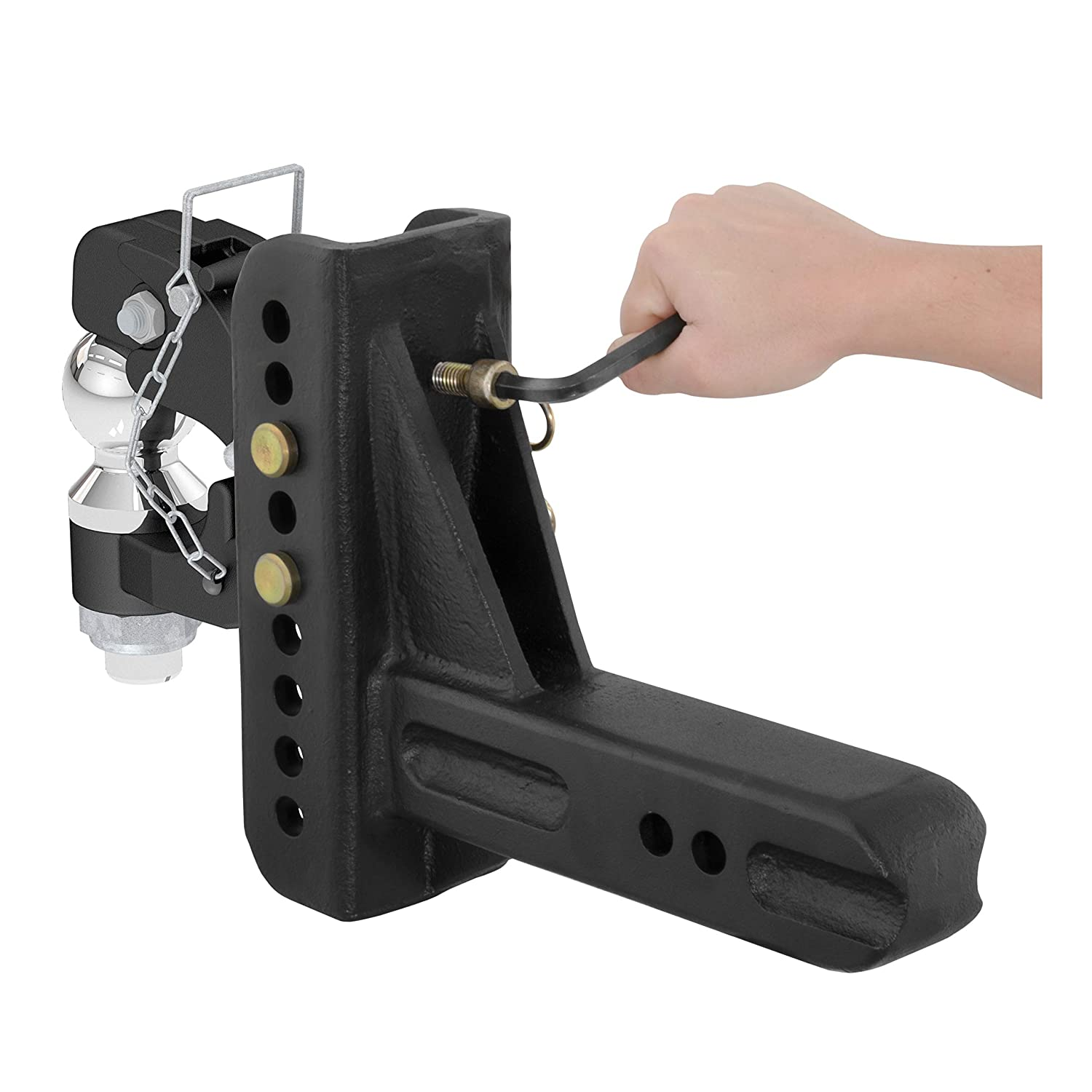 5-1//4-Inch Rise 2-5//16-Inch Fits 2-1//2-Inch or 3 Lunette Ring 6-Inch Drop CURT 45908 Adjustable Pintle Hitch Combination Receiver