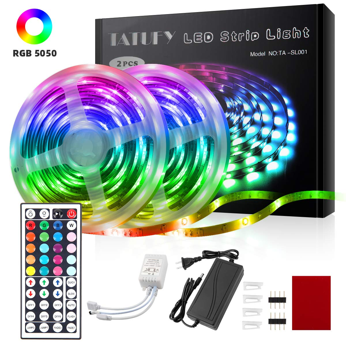 TATUFY LED Strip Lights, 32.8ft 10m Tape Lights with 44 Keys IR Remote and Flexible Color Changing 5050 RGB 300 LEDs Light Strips Kit for Home, Bedroom, Kitchen,DIY Decoration