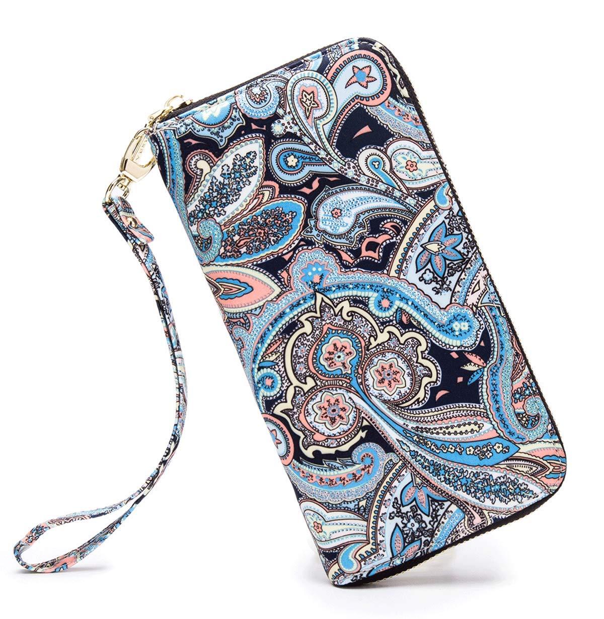 LOVESHE Women wallet WavePattern Bohemian wristlet Clutch wallets(WavePattern) by LOVESHE