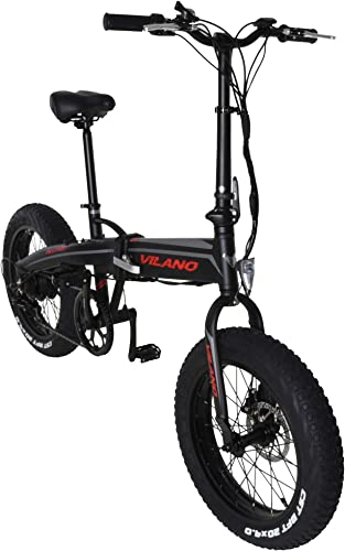 Vilano Neutron Electric Folding Fat Bike, 20-Inch Wheels